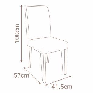 Sala Jantar Helen 180 Cm x 90 Com 6 Cadeiras Milena C/Moldura Savana/Off White/Chocolate - Cimol