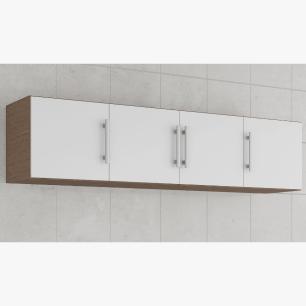 Armario De Cozinha Aereo 100% Mdf Flex 174 Cm Amendoa/Branco - Mgm