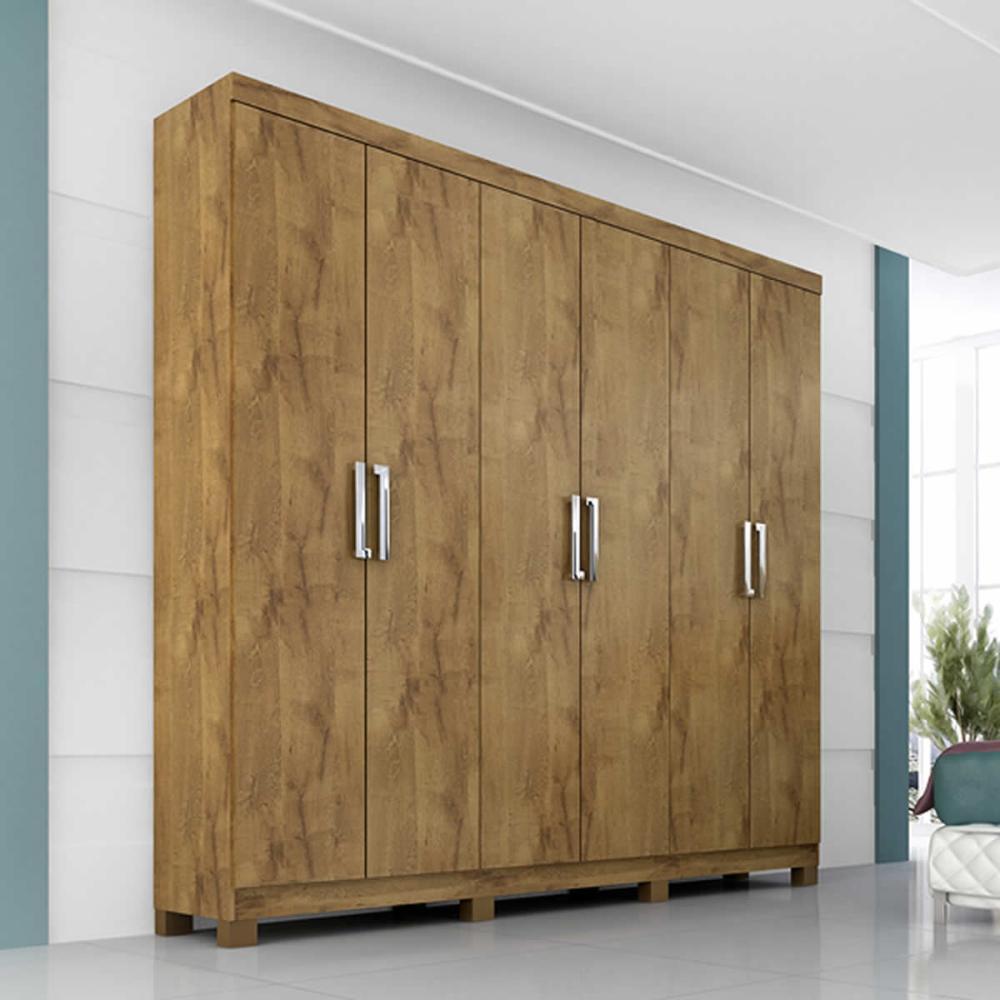 Roupeiro Uni Premium 6 Portas - 100% MDF - Canela - Panan