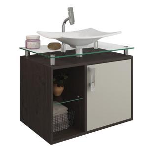 Gabinete De Banheiro 100% Mdf Lagos 60 Cm Sobrepor Cafe/Off White - Mgm