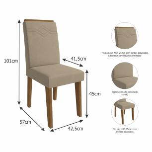 Sala Jantar Ana 180 Cm x 90 Cm Com 6 Cadeiras Tais C/Moldura Savana/Off White/Caramelo - Cimol