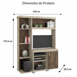 Estante Home Theater para TV até 42 Polegadas Letícia Rustico/Cafe - Permobili