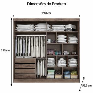 Roupeiro Joinville Slide 2 Portas - 100% MDF - Cafe/Cafe/Branco - Panan