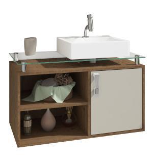 Gabinete De Banheiro 100% Mdf Braga 80 Cm Sobrepor Amendoa/Off White - Mgm