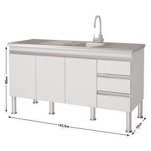 Balcão de cozinha Ibiza Para Pia 150 cm  - Branco/Vermelho - Mgm