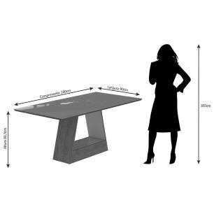 Mesa Alana 180cm x 90cm - Branco/Savana - Cimol