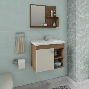 Gabinete De Banheiro 100% Mdf Lotus 55 Cm Com Espelho Amendoa/Off White - Mgm