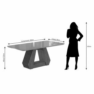 Sala Jantar Agata 180 Cm x 90 Cm Com 6 Cadeiras Nicole Marrocos/Preto/Pluma - Cimol