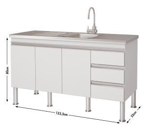 Balcao De Cozinha 100% Mdf Ibiza Para Pia 134 cm - Branco - Mgm