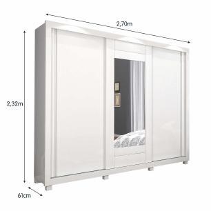 Roupeiro Paris Slide 3 Portas Com Espelho 100% MDF - Branco - Docelar