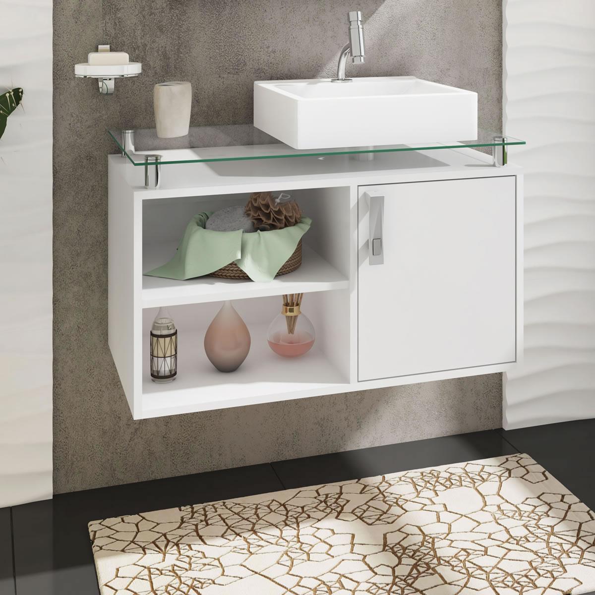 Gabinete De Banheiro 100% Mdf Braga 80 Cm Sobrepor Branco - Mgm