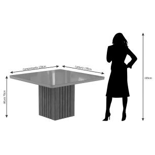 Sala Jantar Ana 130cm x 130cm 8 Cad. Alice - Savana/Offwhite/Joli - Cimol