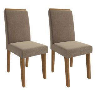 Sala Jantar Rafaela 180 Cm x 90 Cm Com 6 Cadeiras Milena C/Moldura Savana/Off White/Pluma - Cimol