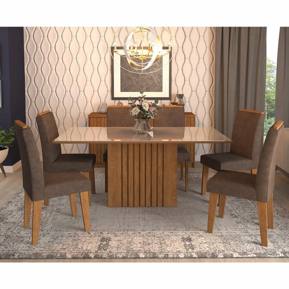 Sala Jantar Ana 180 Cm x 90 Cm Com 6 Cadeiras Tais C/Moldura Savana/Off White/Cacau - Cimol