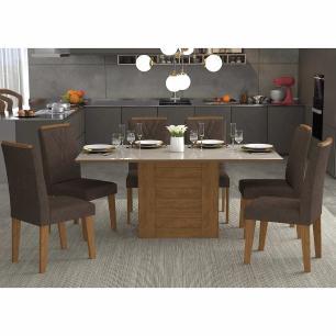 Sala Jantar Rafaela 180cm x 90cm Com 6 Cadeiras Nicole Savana/Off White/Cacau - Cimol