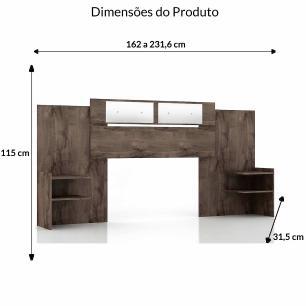 Cabeceira Solteiro/Casal Mila - 100% MDF - Com Espelho - Cafe - Panan