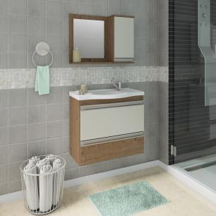 Gabinete De Banheiro 100% Mdf Grecia 65 Cm Com Espelho Amendoa/Off White - Mgm