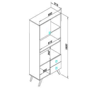 Estante Retro 1 Porta 2 Gavetas - Rustico/Branco - Movelbento