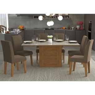 Sala Jantar Rafaela 180 Cm x 90 Com 6 Cadeiras Milena Savana/Off White/Chocolate - Cimol