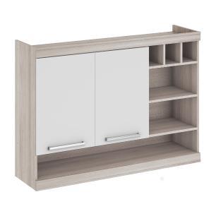 Armário de cozinha Gold 2 Portas 120 cm Nicho/Adega - Branco/Amadeirado - Nesher