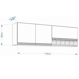 Armario De Cozinha Aereo 100% Mdf Prisma 174 Cm Amendoa/Branco - Mgm