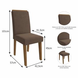 Sala Jantar Ana 130 Cm x 80 Cm Com 4 Cadeiras Tais C/Moldura Savana/Off White/Chocolate - Cimol