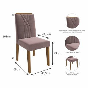 Sala Jantar Agata 130 Cm x 80 Cm Com 4 Cadeiras Nicole Savana/Off White/Rose - Cimol
