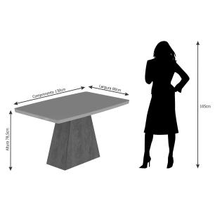 Sala Jantar Helen 130cm x 80cm 4 Cad.Vanessa - Savana/Off White/Caramelo - Cimol