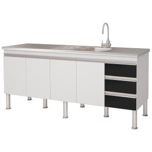 Balcao De Cozinha 100% Mdf Ibiza Para Pia 174 cm - Branco/Preto - Mgm