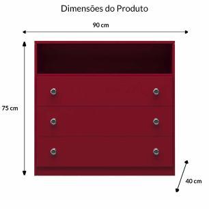 Cômoda Baixa 3 Gavetas E 1 Nicho - Vermelho - Primolar