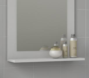 Gabinete De Banheiro 100% Mdf Iris 44 Cm Com Espelho Branco - Mgm