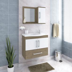 Gabinete De Banheiro 100% Mdf Atenas 65 Cm Com Espelho Carvalho/Branco - Mgm