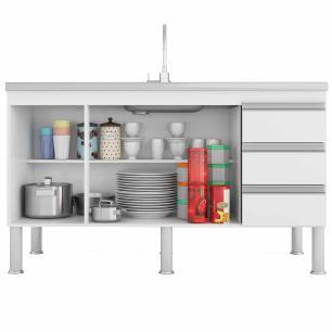Balcao De Cozinha 100% Mdf Ibiza Para Pia 134 Cm Branco/Carvalho - Mgm