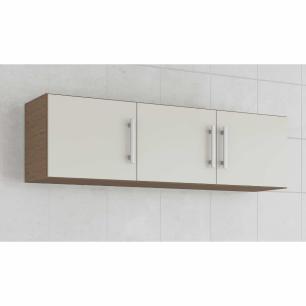 Armario De Cozinha Aereo 100% Mdf Flex 144 Cm Amendoa/Off White - Mgm