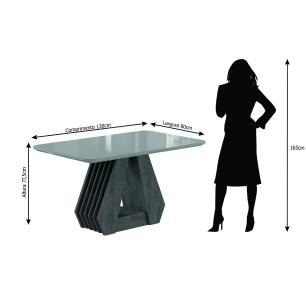 Sala Jantar Agata 130 Cm x 80 Cm Com 4 Cadeiras Nicole Savana/Off White/Caramelo - Cimol