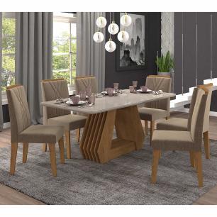 Sala Jantar Agata 180 Cm x 90 Cm Com 6 Cadeiras Nicole Savana/Off White/Pluma - Cimol