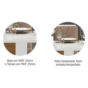 Sala Jantar Rafaela 180cm x 90cm 6 Cad. Nicole Branco/Savana/Pluma - Cimol