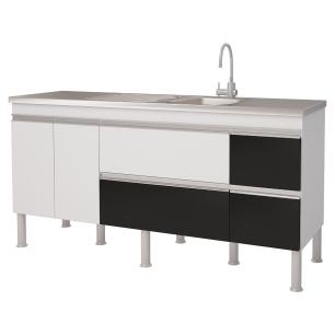 Balcao De Cozinha 100% Mdf Prisma Para Pia 174 cm - Branco/Preto - Mgm