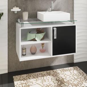 Gabinete De Banheiro 100% Mdf Braga 80 Cm Sobrepor Branco/Preto - Mgm