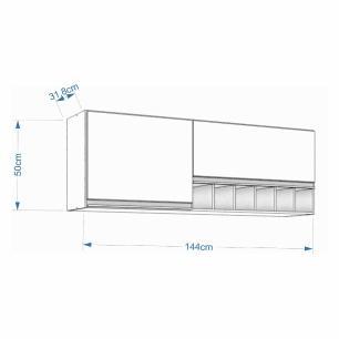 Armario De Cozinha Aereo 100% Mdf Prisma 144 Cm Branco - Mgm
