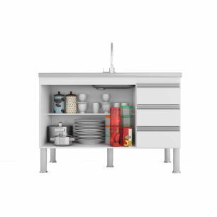 Balcao De Cozinha 100% Mdf Ibiza Para Pia 114 Cm Branco/Café - Mgm