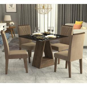 Sala Jantar Alana 95cm x 95cm Com 4 Cadeiras Nicole Marrocos/Preto/Pluma - Cimol
