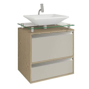 Gabinete De Banheiro 100% Mdf Faro 60 Cm Sobrepor Carvalho/Off White - Mgm