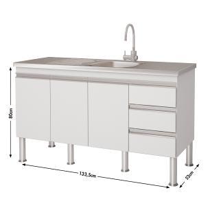 Balcão de cozinha Ibiza Para Pia 140 cm - Branco/Castanho - Mgm