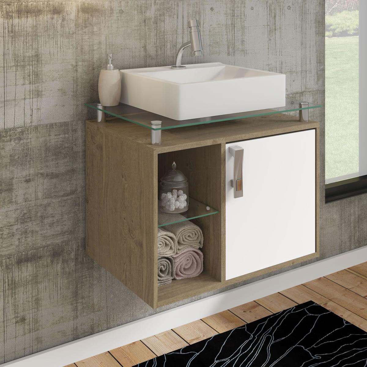 Gabinete De Banheiro 100% Mdf Porto 60 Cm Sobrepor Carvalho/Branco - Mgm