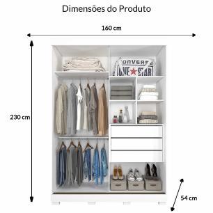 Roupeiro Bia 2 Portas Slide - 100% MDF - Com Espelho - Branco - Panan