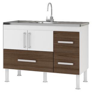 Balcão de cozinha Bari Para Pia 120 cm - Branco/Castanho - Mgm
