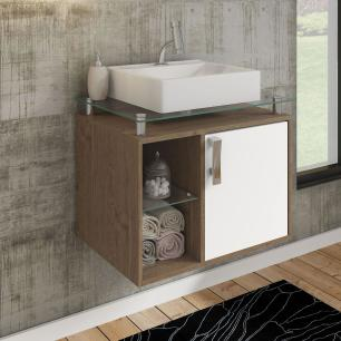 Gabinete De Banheiro 100% Mdf Porto 60 Cm Sobrepor Amendoa/Branco - Mgm