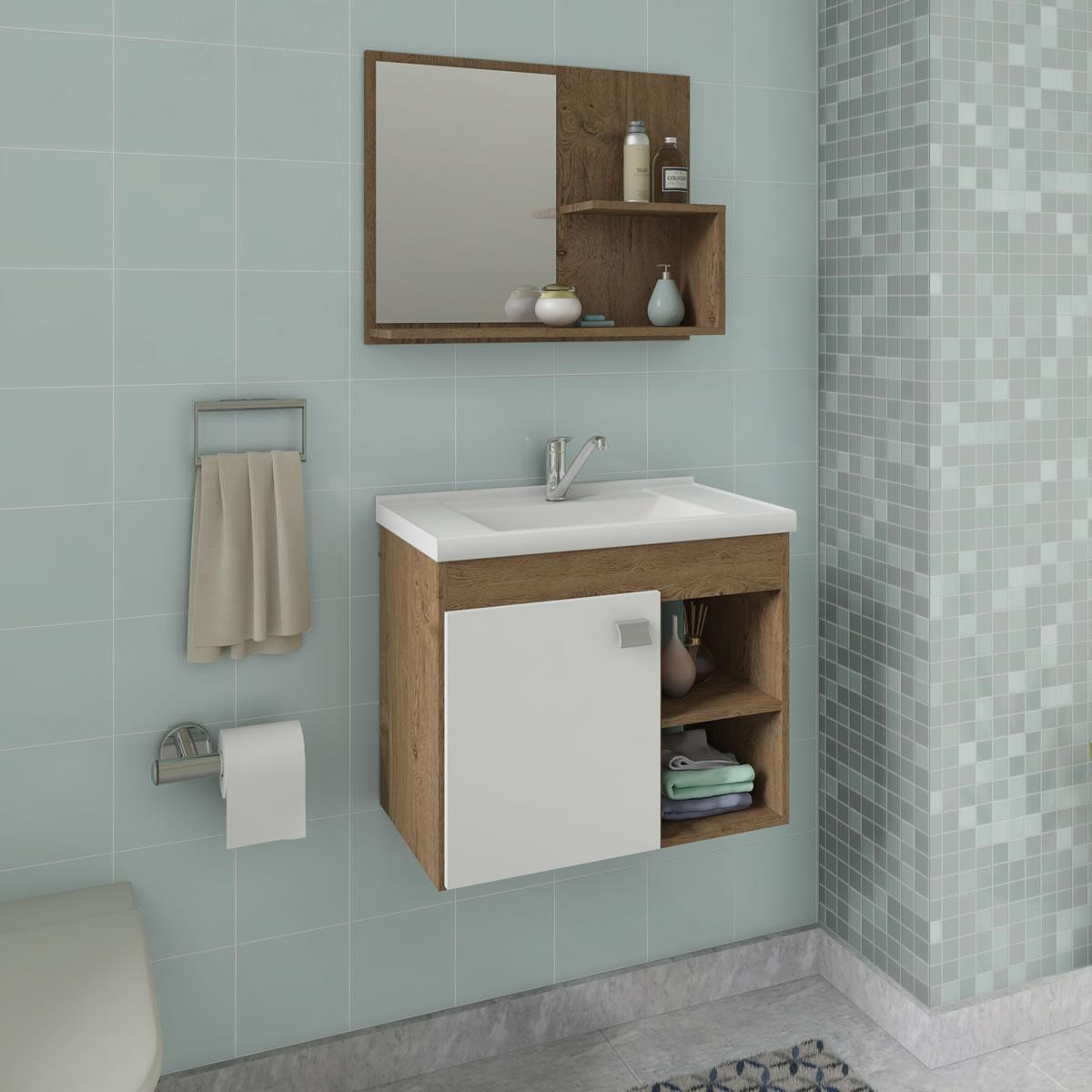 Gabinete De Banheiro 100% Mdf Lotus 55 Cm Com Espelho Amendoa/Branco - Mgm