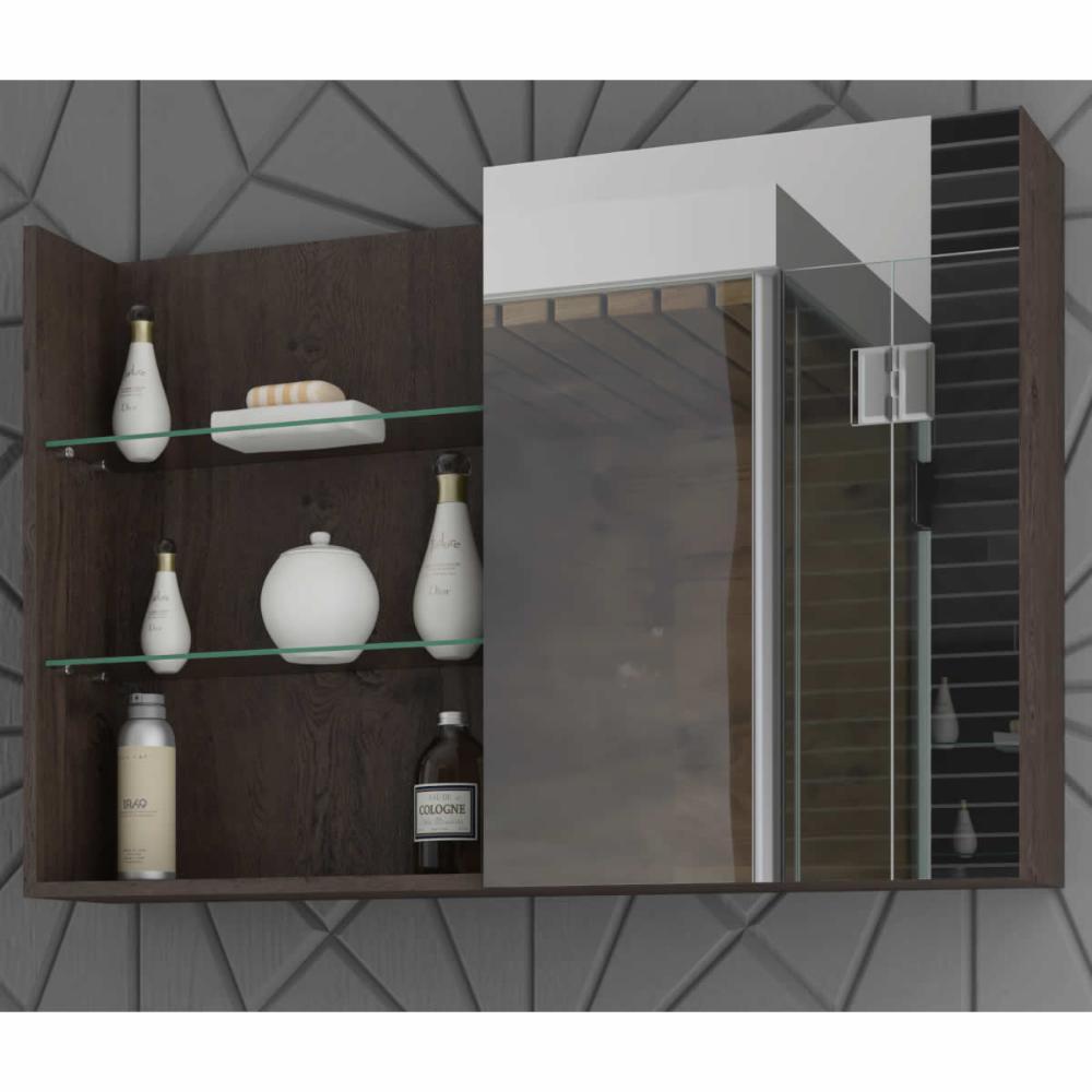 Espelheira para Banheiro 100% MDF Jasmin 80 Cm Café - Mgm